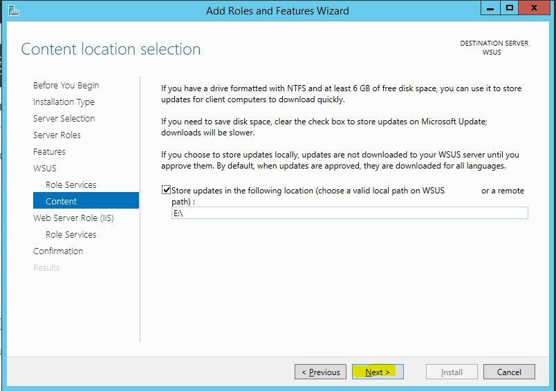 Windows Server 2012 R2 WSUS Kurulumu 11