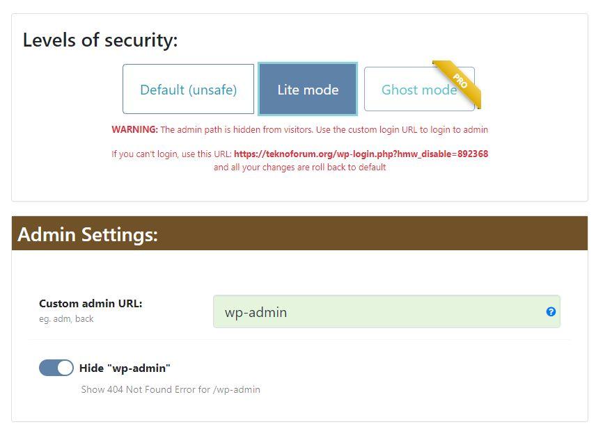 Wordpress wp-admin Adresini Değiştirmek 3
