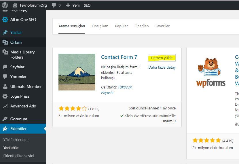 Wordpress Contact Form 7 Eklentisi 1