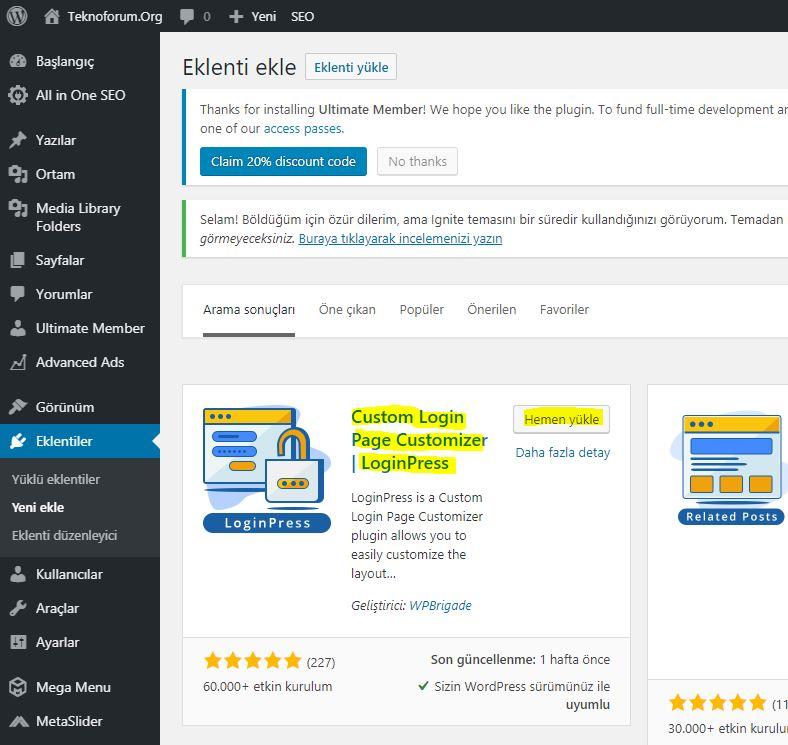 Wordpress Custom Login Page Customizer - Loginpress Eklentisi 1