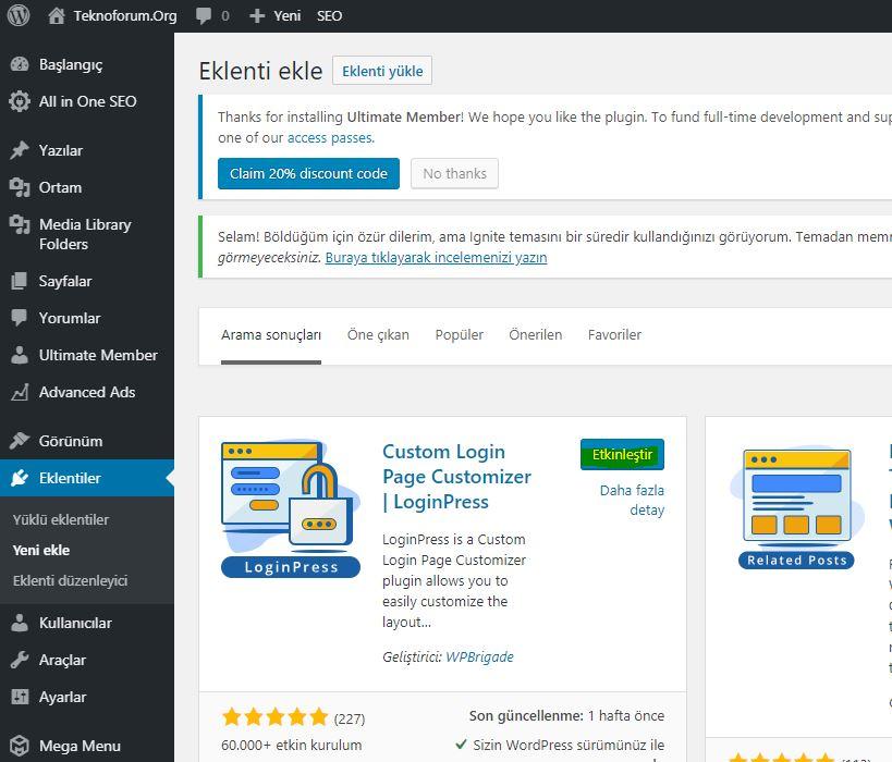 Wordpress Custom Login Page Customizer - Loginpress Eklentisi 2