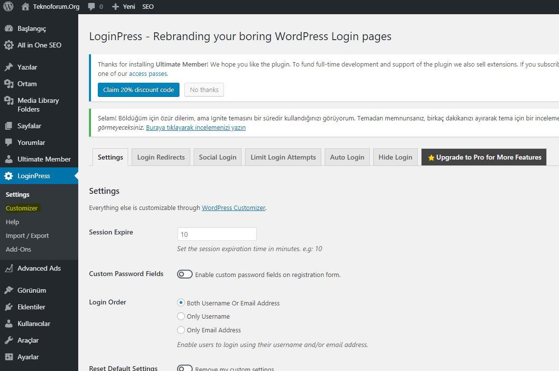 Wordpress Custom Login Page Customizer - Loginpress Eklentisi 4
