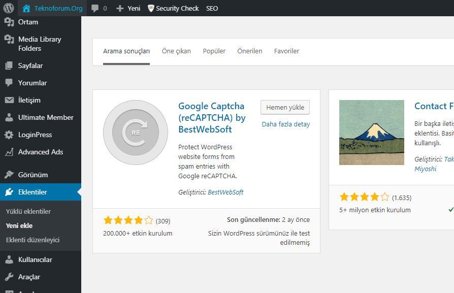 Wordpress Google Captcha Eklentisi 1