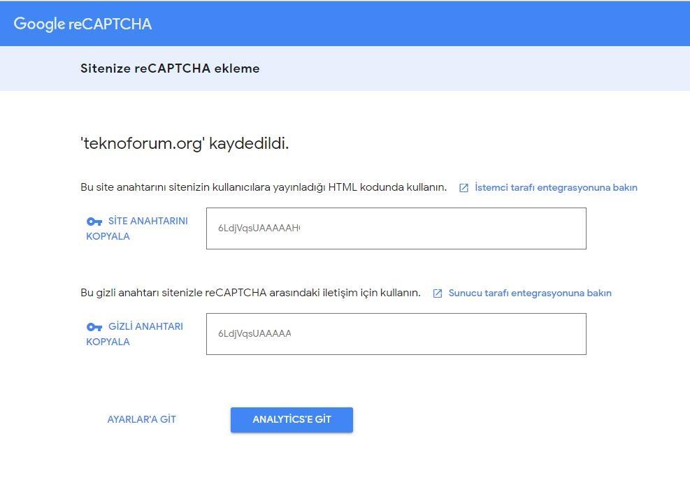 Wordpress Google Captcha Eklentisi 5