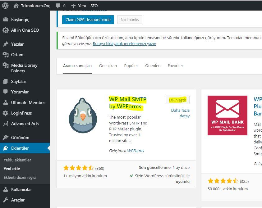 Wordpress Mail Smtp Eklentisi 1