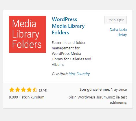 WordPress Media Library Folders Eklentisi 1
