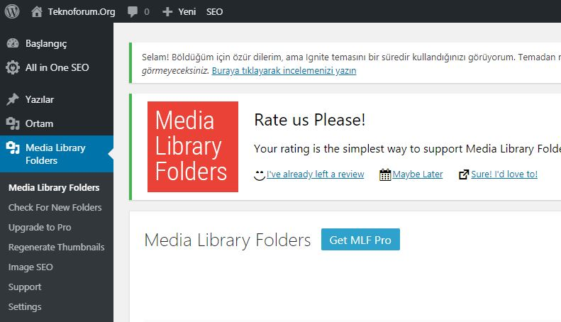WordPress Media Library Folders Eklentisi 2