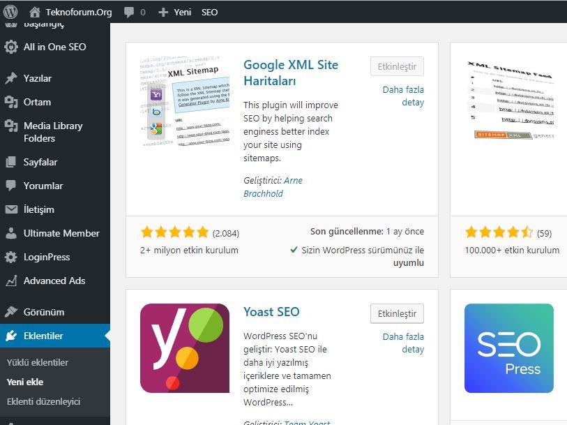 Wordpress Sitemap Oluşturma 1
