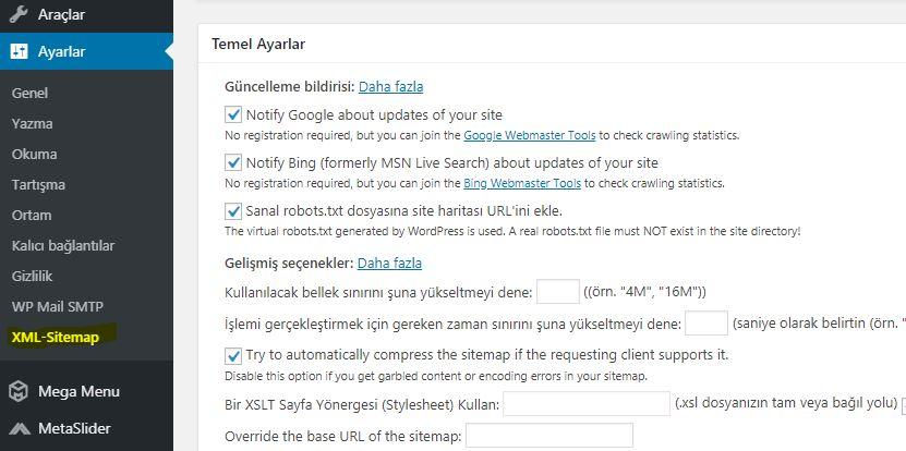 Wordpress Sitemap Oluşturma 2