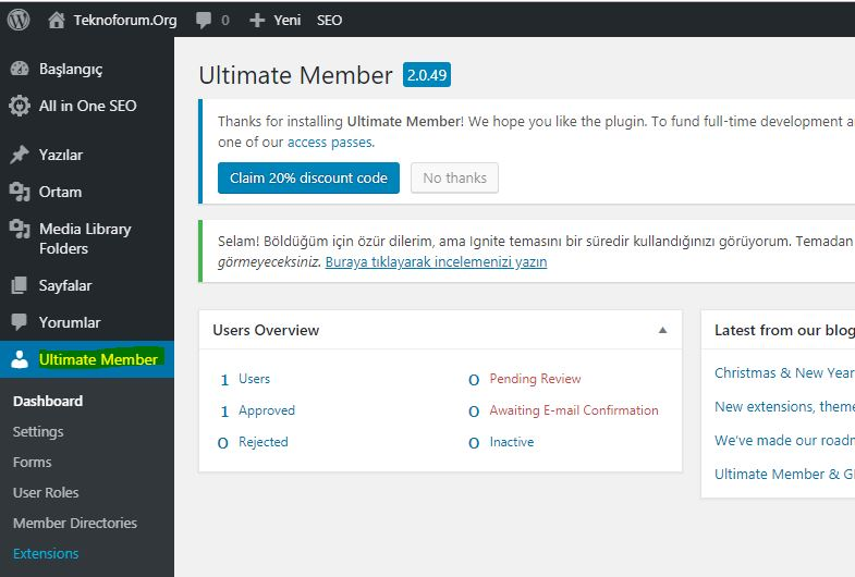 Wordpress Ultimate Member Eklentisi 2