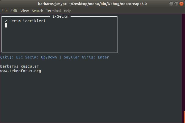 Ubuntu C# Console Menu Oluşturma