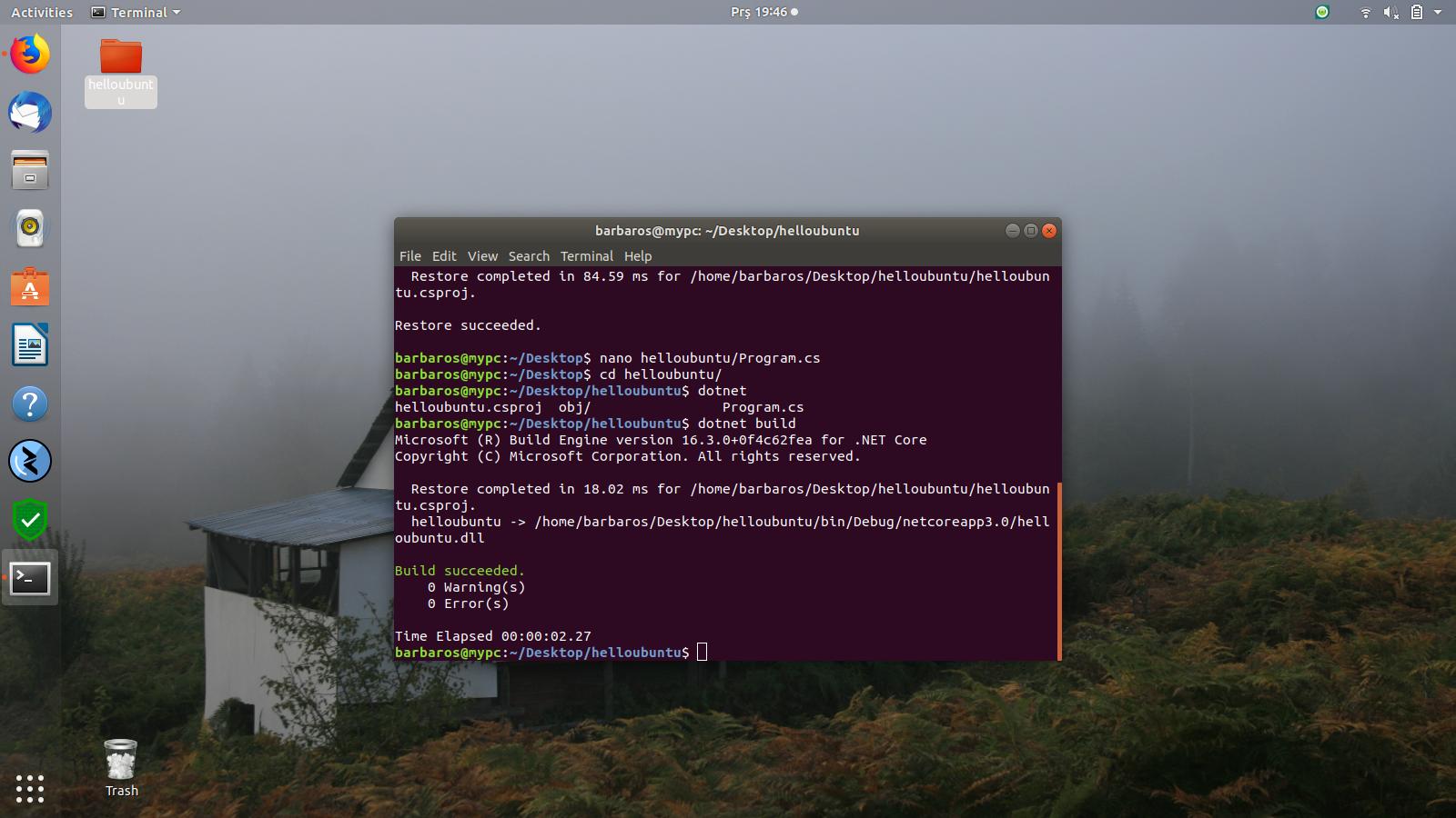 Ubuntu 18.04 .Net Core Kurulumu