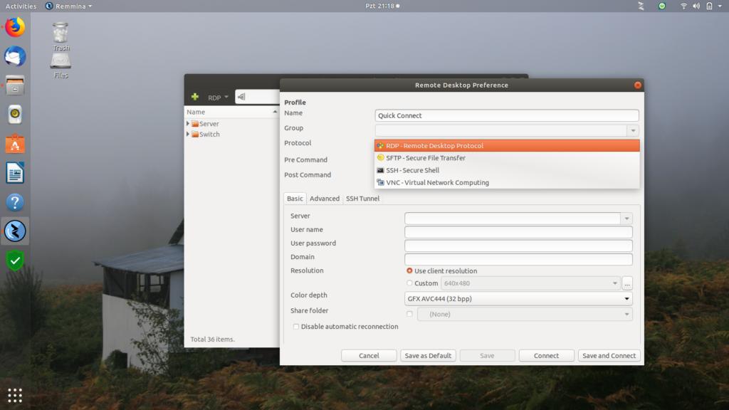 Ubuntu 18.04 LTS Remmina Remote Desktop Client
