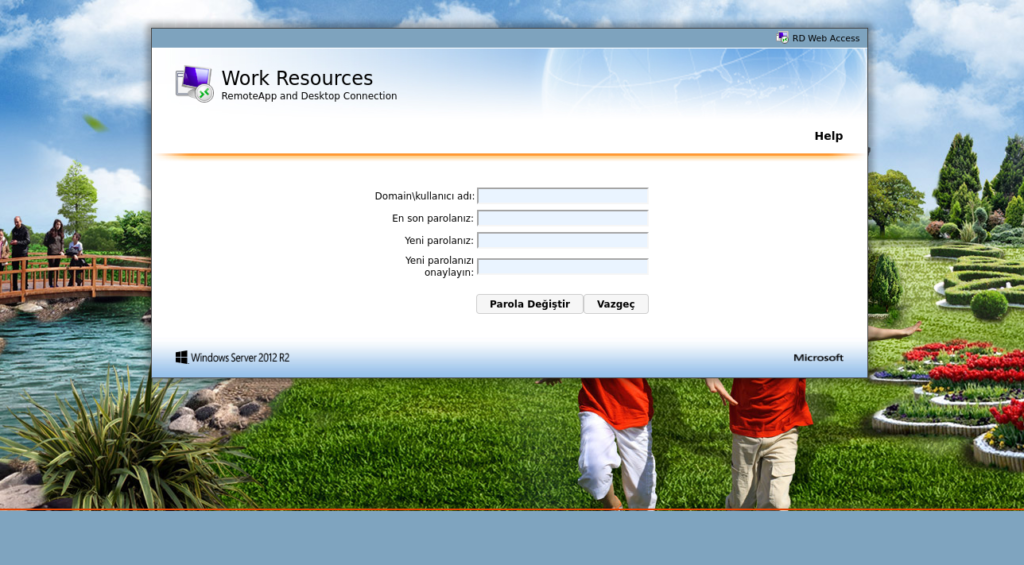 RD Web Parola Değiştirme Sayfası Oluşturma