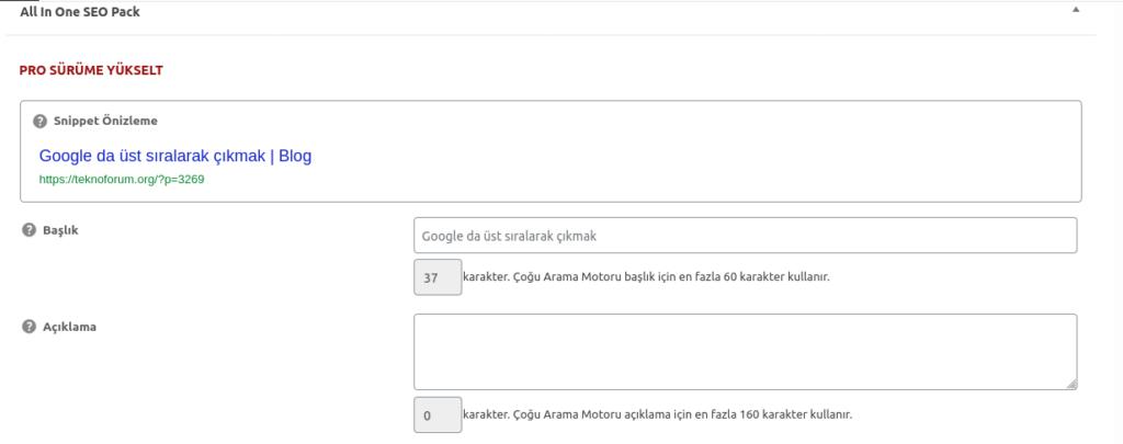 Google da üst sıralarak çıkmak