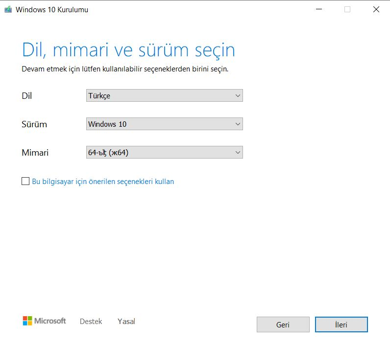 Windows 10 Dil Seçimi