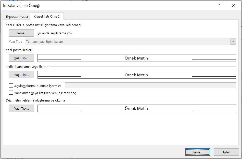 Outlook varsayılan yazı tipi değiştirme