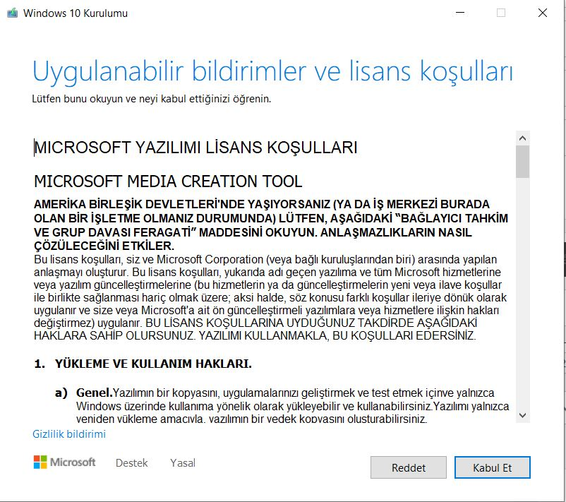 Windows 10 21H1 lisans koşulları