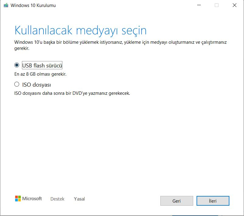 Windows 10 USB Flash Sürücü