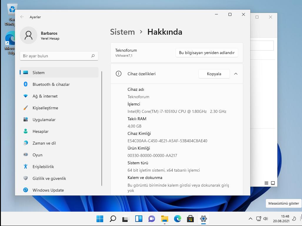 windows 11 sistem özellikleri
