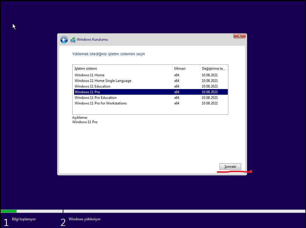 Windows 11 kurulumu