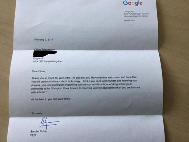 7 yaşındaki Chloe Bridgewater Google için iş başvurusunda bulundu, CEO dan cevap geldi