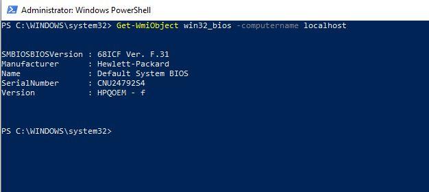 BIOS Sürümünü Öğrenmek – PowerShell