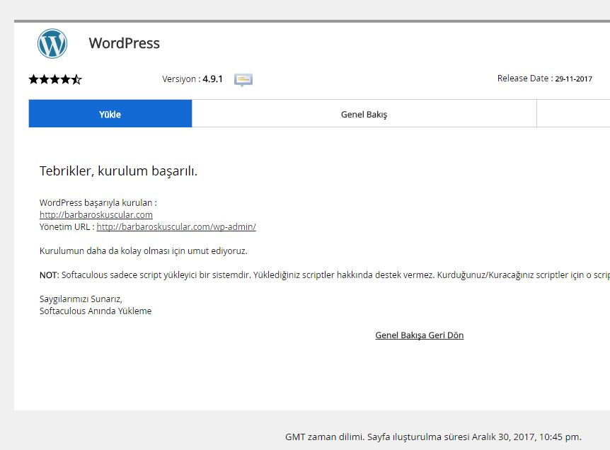 cPanel 68.0.21 WordPress Kurulumu