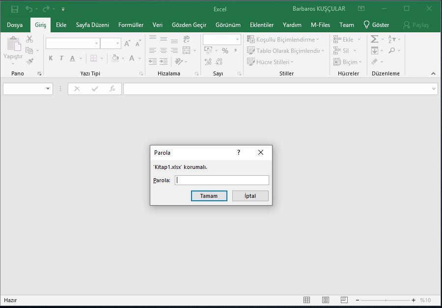 Excel dosya şifreleme ve excel dosyasını koruma