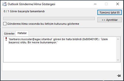 Exchange server adres defteri indirme hatasi 0x8004010F – Çözüldü
