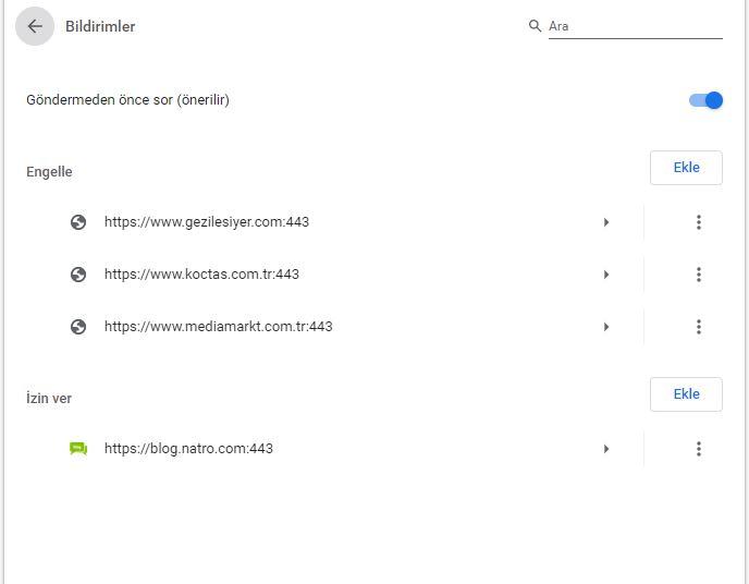 Google Chrome Bildirimlerini Kapatma