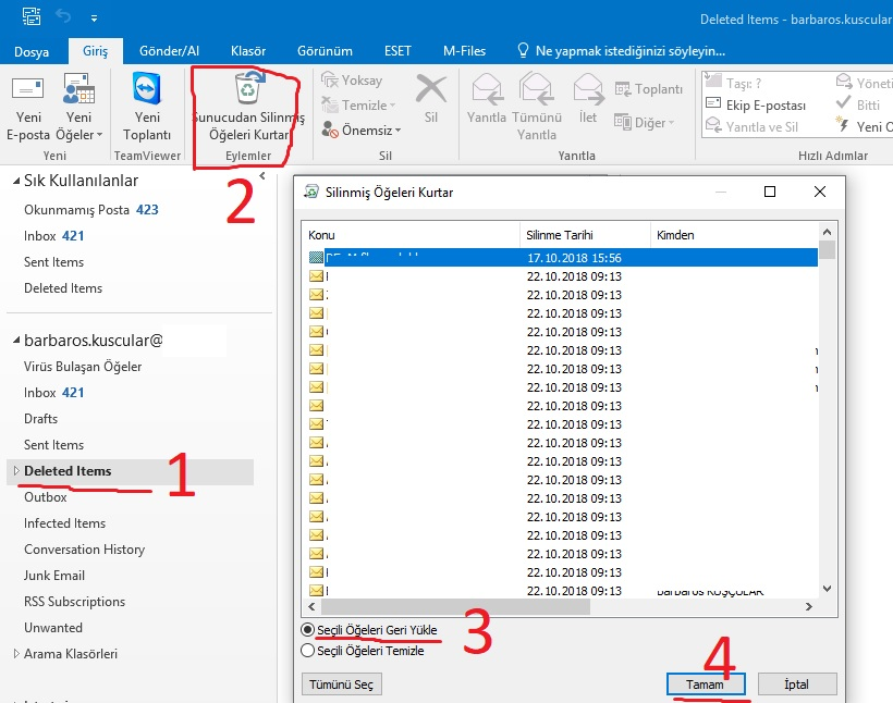 Outlook silinen maili geri alma