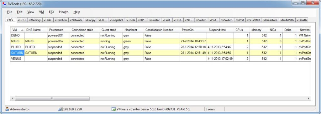 RVTools ile VMware sistem analizi