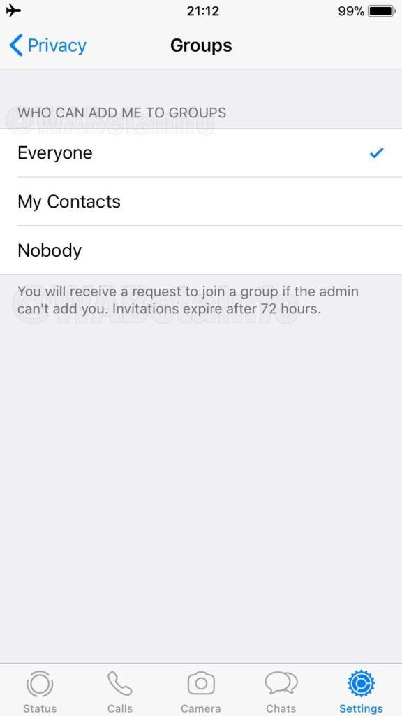 WhatsApp gruplarına eklenmek artık onayınıza sunulacak
