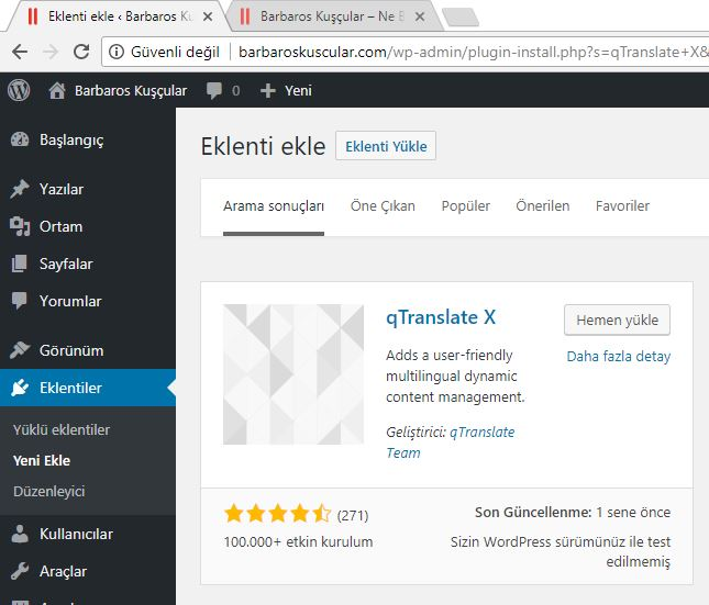 WordPress qTranslate-X Eklentisi