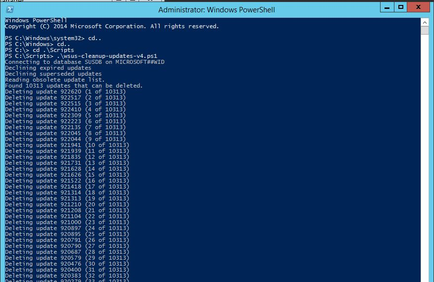 WSUS Cleanup Updates v4 Powershell Script